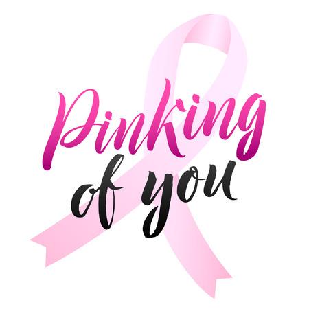 Vector borst kanker bewustzijn kalligrafie posterontwerp. Stroke Pink Ribbon. Oktober is de Cancer Awareness Month. Stock Illustratie
