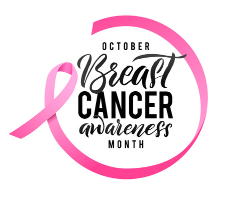 Breast Cancer Awareness Calligraphy Poster Design. Ribbon around letters. Vector Stroke Pink Ribbon. October is Cancer Awareness Month.  イラスト・ベクター素材