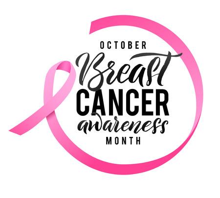 Projekt plakatu kaligrafii świadomości raka piersi. Wstążka wokół liter. Wektor obrysu różowej wstążki. Październik to miesiąc świadomości raka.