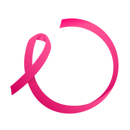 Ribbon of Breast Cancer. Round consept for Text. Breast Cancer Awareness Label. Vector Template with Pink Ribbon - Symbol of Cancer Fight Vettoriali