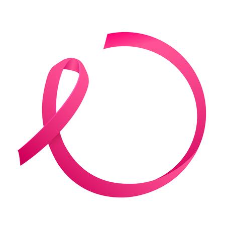 Wstążka raka piersi. Okrągła koncepcja tekstu. Etykieta świadomości raka piersi. Szablon wektor z różową wstążką - symbol walki z rakiem