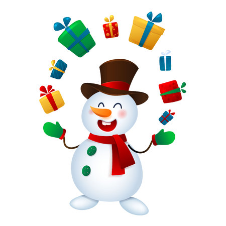 The Christmas snowman juggles with gifts. Vector illustrations of snowman Isolated on White Background.