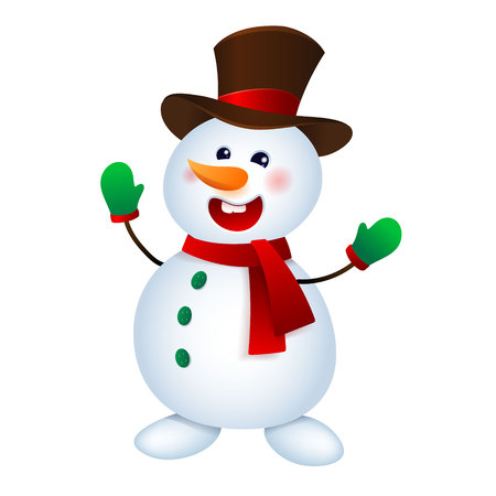 Christmas Snowman Vector illustration. Happy Snowman Isolated on White Background.