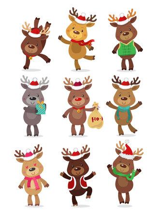 Santa's Reindeer Set. Vector illustrations of reindeer isolated on white background Illustration