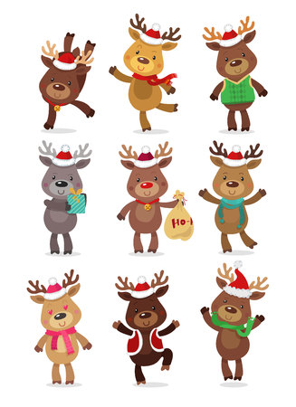 Santa's Reindeer Set. Vector illustrations of reindeer isolated on white background Иллюстрация
