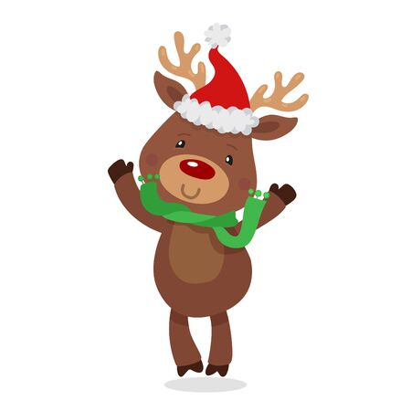 Santa s Reindeer Rudolph. Vector illustrations of Jumping Reindeer Rudolf Isolated on White Background. Stock Photo