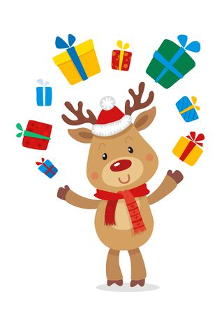Santas Reindeer Rudolph and Gifts. Vector illustrations of Reindeer Rudolf Isolated on White Background.