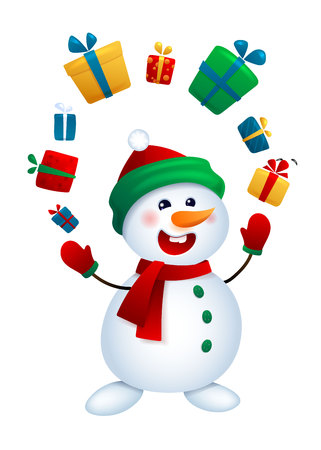 The Christmas snowman juggles with gifts. Vector illustration isolated on white background.