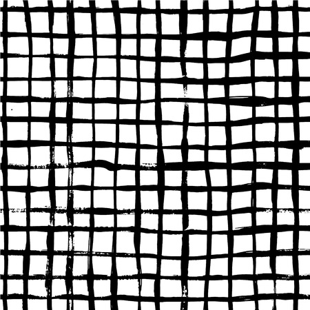 Ink abstract seamless grid pattern. Background with artistic strokes in black and white sketchy style. Design element for backdrops and textile.