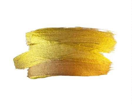Gold Texture Paint Stain Illustration. Hand drawn brush stroke vector design element 向量圖像