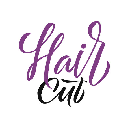 Hair cut Logo Beauty Vector Lettering. Custom handmade calligraphy.