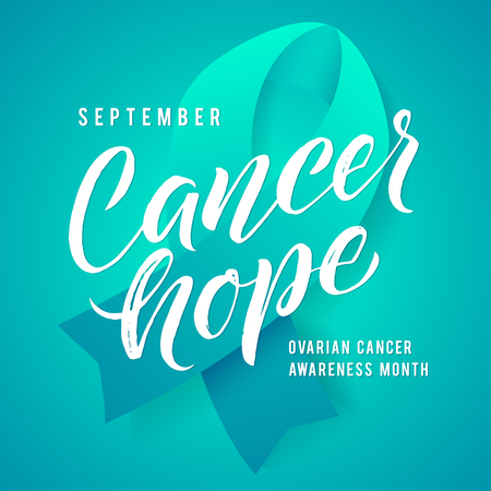 Cancer hope. Ovarian Cancer Awareness Label. Vector Tamplate with Teal Ribbon - Symbol of Cancer Fight Ilustrace