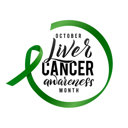 Vector Calligraphy Poster. Green White Awareness Ribbons of Liver Cancer Vector illustration