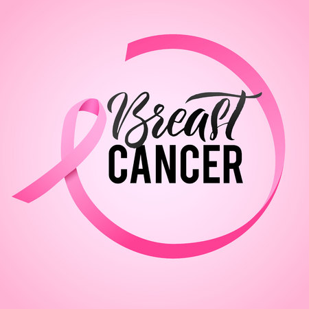 Breast Cancer Awareness Calligraphy Poster Design. Ribbon around letters. Vector Stroke Pink Ribbon. October is Cancer Awareness Month