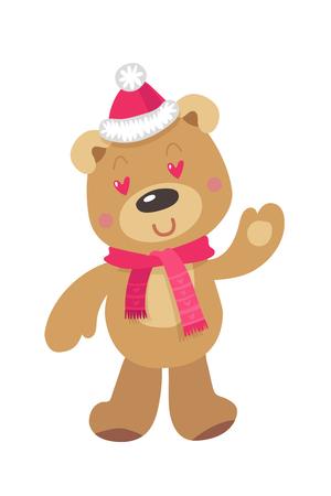 Cute Christmas Bear. Vector illustration on White Background Reklamní fotografie