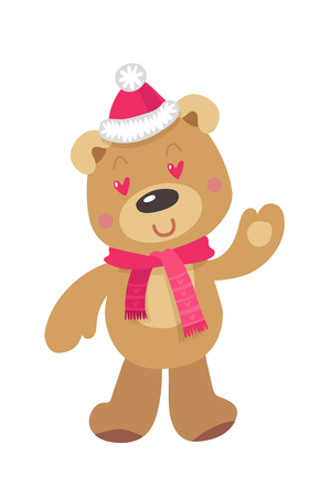 Cute Christmas Bear. Vector illustration on White Background Stock Photo