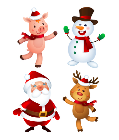 Merry Christmas. Santa Claus and Pig, Snowman and Reindeer. Happy Holiday Mascots Set. Ilustrace