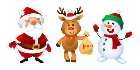 Merry Christmas. Santa Claus, Snowman and Reindeer. Happy Holiday Mascots Set.