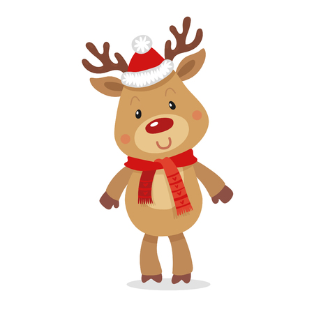 Santa s Reindeer Rudolph. Vector illustrations of Reindeer Rudolf Isolated on White Background.