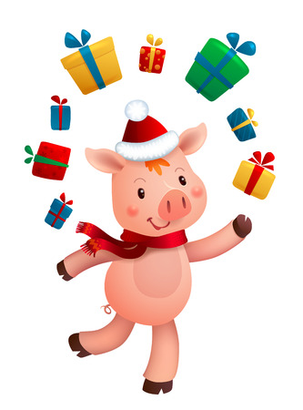 New Year Pig and Gifts. Vector illustrations of 2019 Chinese Symbol Isolated on White Background.