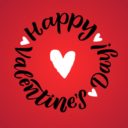 Happy Valentines Day Black Lettering White background. Greeting Card