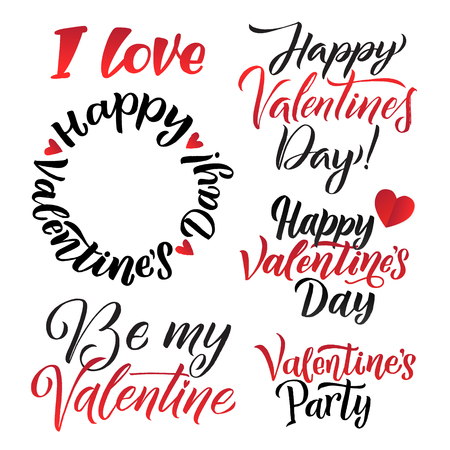Happy Valentines Day Lettering Background Greeting Card Set.