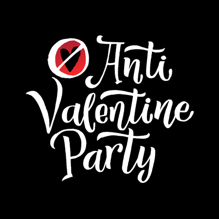 Anti Valentines Party Black Lettering Red Background. Poster for Event