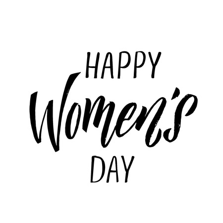 Happy Woman's Day calligraphy design on square white background. Vector illustration. Woman's Day greeting calligraphy design in black colors. Template for a poster, cards, banner. - Vector