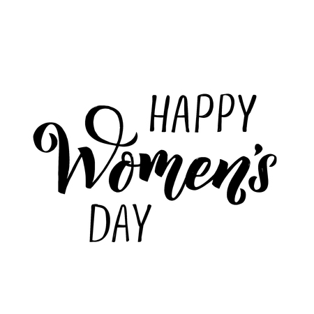 Happy Womans Day calligraphy design on square white background. Vector illustration. Womans Day greeting calligraphy design in black colors. Template for a poster, cards, banner. - Vector illustration