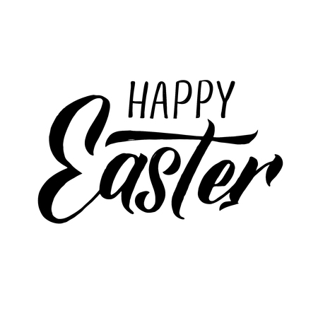 Happy Easter modern brush calligraphy. Ink illustration. Isolated on white background. - Vector illustration