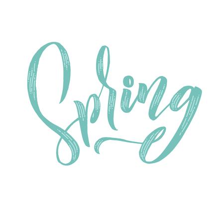 Spring. Trendy script lettering design Spring. - Vector illustration