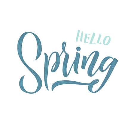 Spring. Trendy script lettering design Spring. - Vector illustration 矢量图像
