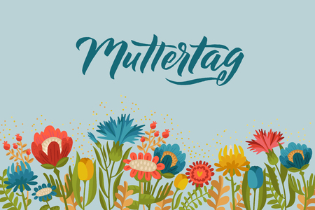 Happy Mothers Day Germany Design on Floral Background. Vector illustration. Greeting Calligraphy Design Colors. Template for a poster, cards, banner Vector illustration