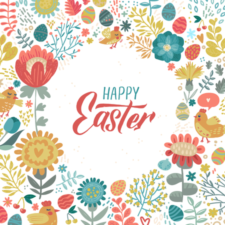 Buona Pasqua moderna calligrafia pennello. Illustrazione dell'inchiostro. Isolato su sfondo floreale. - Illustrazione vettoriale. Vettoriali