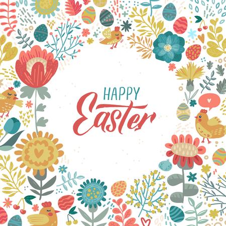 Joyeuses Pâques calligraphie au pinceau moderne. Illustration à l'encre. Isolé sur fond floral. - Illustration vectorielle. Vecteurs