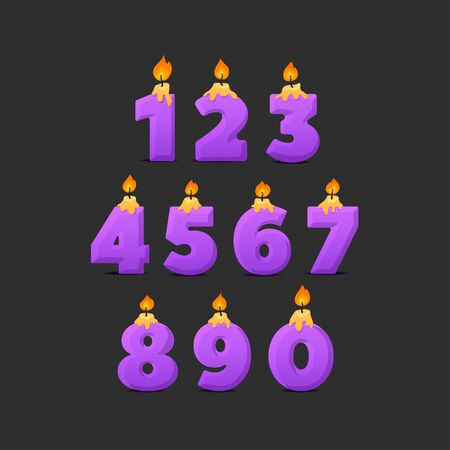 Set of colorful birthday candle numbers. Wick and fire. Vector illustration.