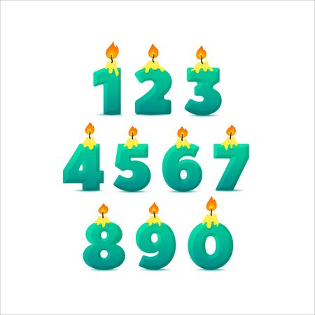 Set of colorful birthday candle numbers. Wick and fire. Vector illustration