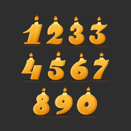 Set of colorful birthday candle numbers. Wick and fire. Vector Illustration Black Background.