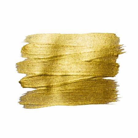 Ilustración de la mancha de pintura de textura dorada. Dibujado a mano elementos de diseño de trazo de pincel. Ilustración de arte con textura brillante oro abstracto.