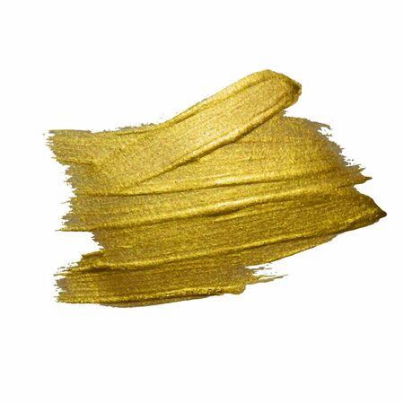 Ilustración de la mancha de pintura de textura dorada. Dibujado a mano elementos de diseño de trazo de pincel. Ilustración de arte con textura brillante oro abstracto. Ilustración de vector