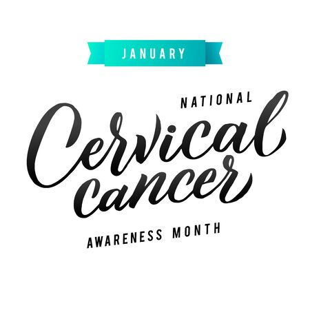 Colorectal Health Awareness Month Vector Illustration. Ribbon around letters. Vector Stroke White and Teal Ribbon. January is Cervical Cancer Awareness Month.