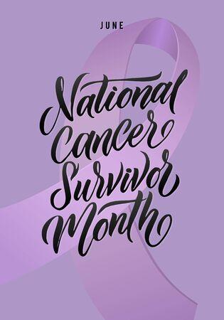 National Cancer Survivor Month. Vector Cancer Awareness Calligraphy Poster Design. Stroke Violet Ribbon. June is National Cancer Survivor Month.
