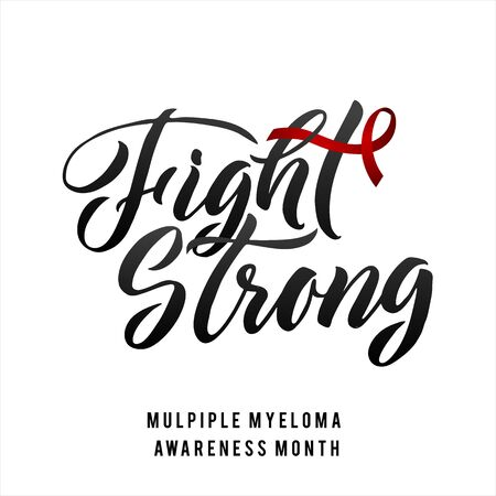 Vector Multiple Myeloma Awareness Calligraphy Poster Design. Stroke Burgundy Red Ribbon. March is Cancer Awareness Month.