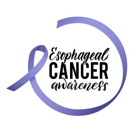 Vector Esophageal Cancer Awareness Calligraphy Poster Design. Stroke Violet Ribbon. April is Cancer Awareness Month.