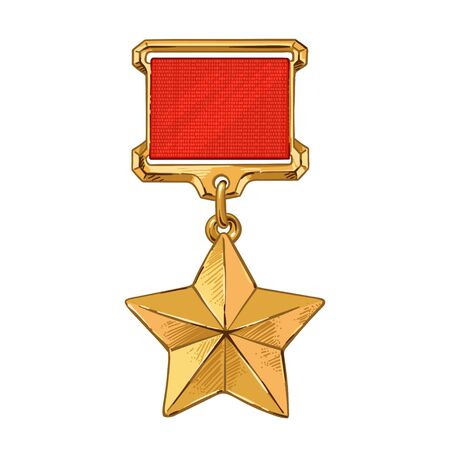 The Medal Star Of The Hero . Happy Great Victory Day 9 May Illustration. Vector illustration in sketch style
