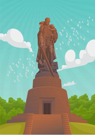 May 9 is a Russian holiday. Summer Sky landscape with War Monument