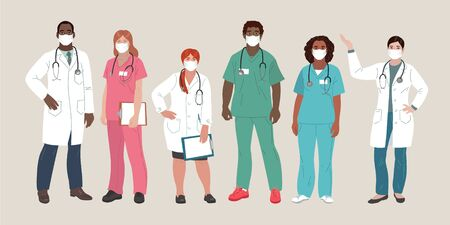 Medical People. Doctors and Nurses Wearing Face Mask, team of doctors concept, medical office or laboratory. Modern flat vector concept digital vector illustration