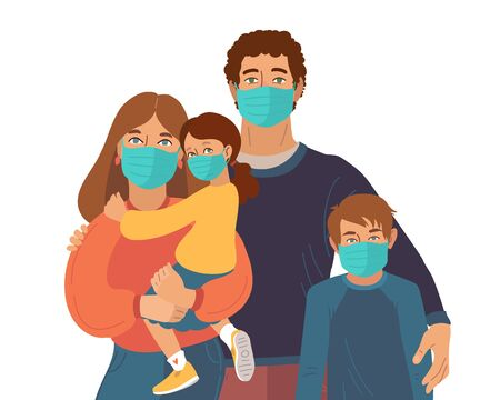 Mother Father and daughter wear medical masks. Virus and disease prevention. Vector Family illustration