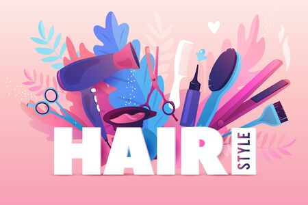 Hair Salon. Colorful hairdresser decorative illustration with beauty haircut accessories and equipment with big white letters. Realistic Poster. Vector Illustration Pink Colors