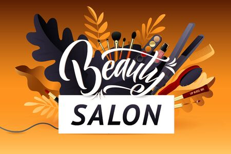 Beauty Salon. Colorful Makeup and Hair Style decorative illustration with haircut accessories and Make-up equipment with big white letters. Realistic Poster. 向量圖像